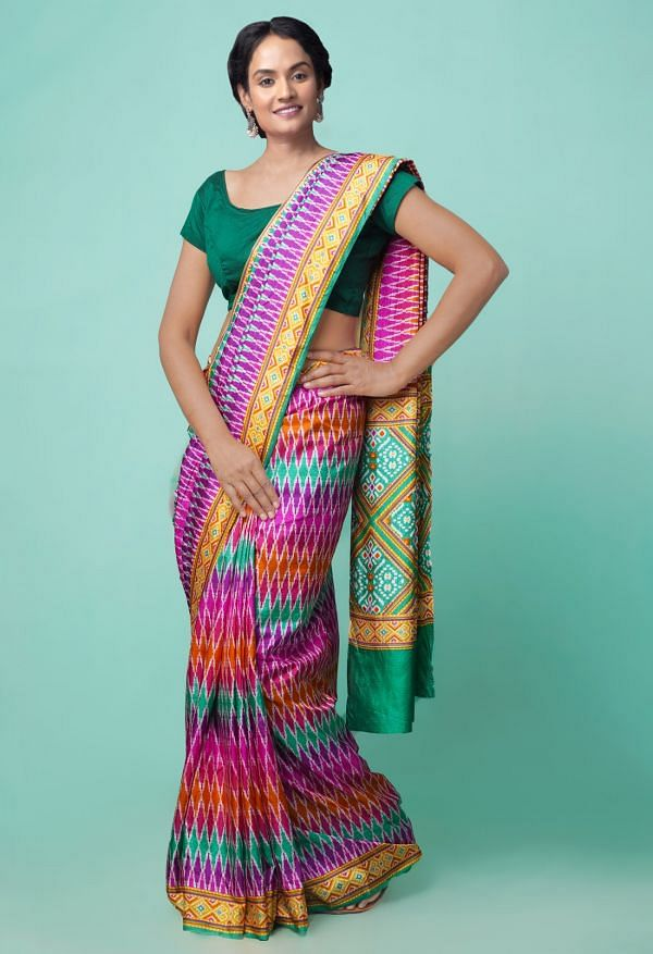 Online Shopping for Multi  Patola Printed Crepe Soft Silk Saree with Fancy/Ethnic Prints from Punjab at Unnatisilks.comIndia