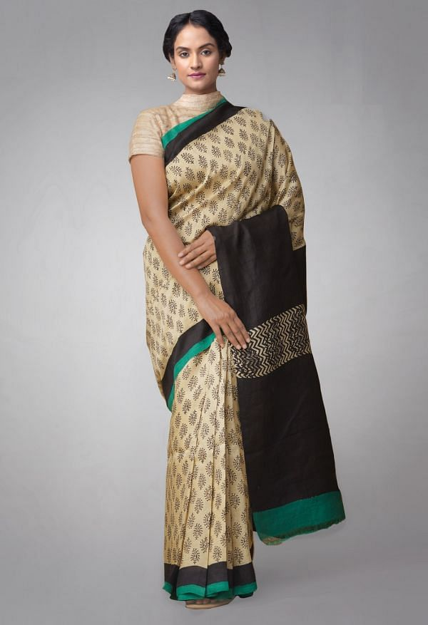 Online Shopping for Cream Pure Handloom Tussar Silk Saree with Bagru Prints with Batik Prints from Rajasthan at Unnatisilks.comIndia