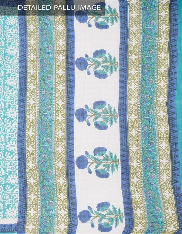 Online Shopping for Green Pure Mulmul Cotton Saree with Hand Block Prints. with Hand Block Prints from Rajasthan at Unnatisilks.comIndia
