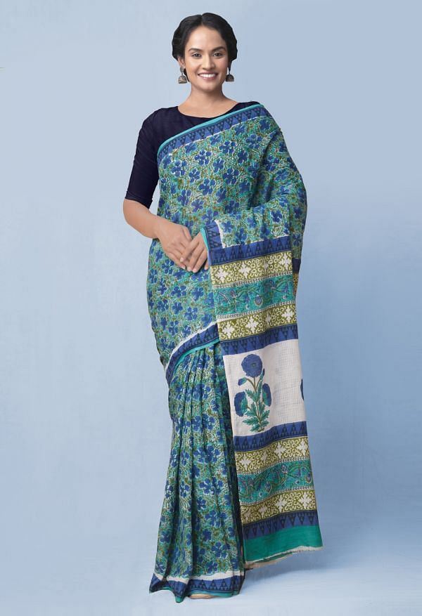 Green Pure Mulmul Cotton Saree with Hand Block Prints.