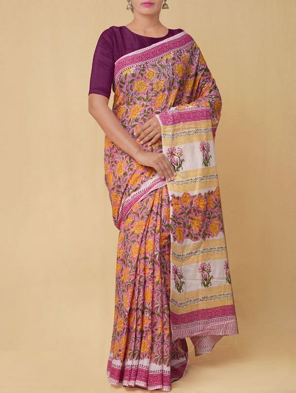 Pink Pure Mulmul Cotton Saree with Hand Block Prints.