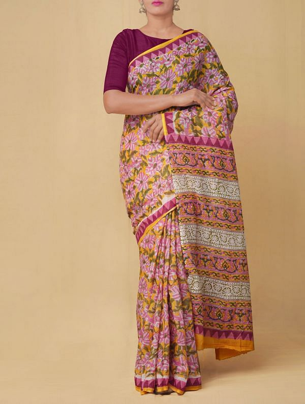 Online Shopping for Yellow Pure Mulmul Cotton Saree with Hand Block Prints. with Hand Block Prints from Rajasthan at Unnatisilks.comIndia
