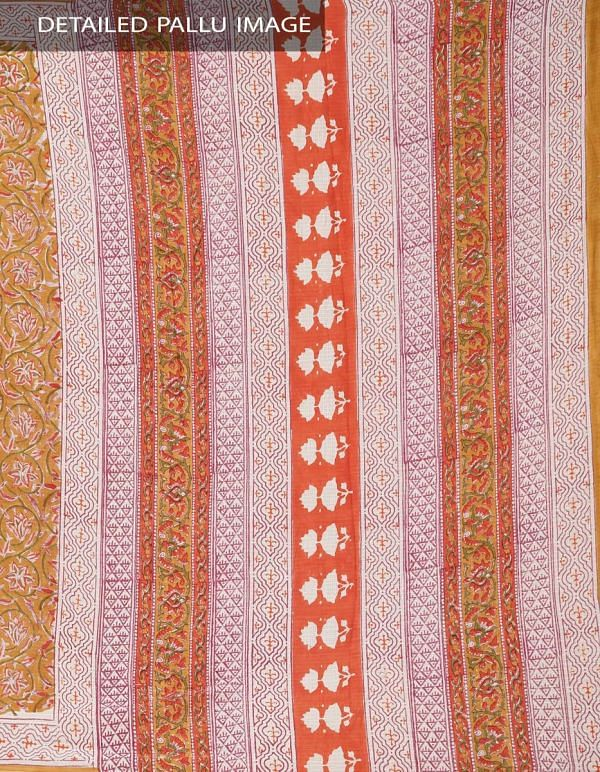 Brown Pure Mulmul Cotton Saree with Hand Block Prints.