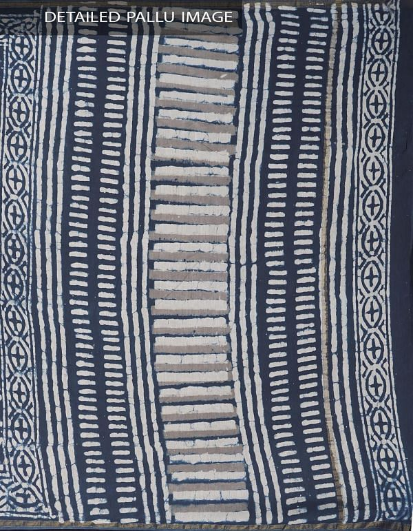 Online Shopping for Indigo Blue Dabu Printed Pure Chanderi Sico Saree with Block Prints from West Bengal at Unnatisilks.comIndia