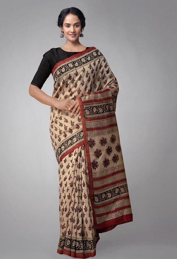 Online Shopping for Beige Pure Chanderi Sico Saree with Bagru Prints. with Bagru Prints from Madhya Pradesh at Unnatisilks.comIndia