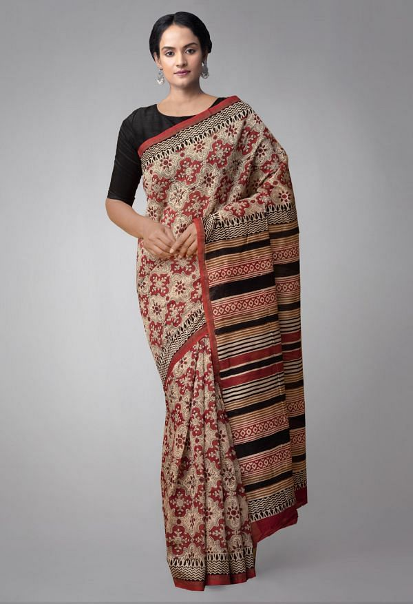 Online Shopping for Red Pure Chanderi Sico Saree with Bagru Prints. with Bagru Prints from Madhya Pradesh at Unnatisilks.comIndia