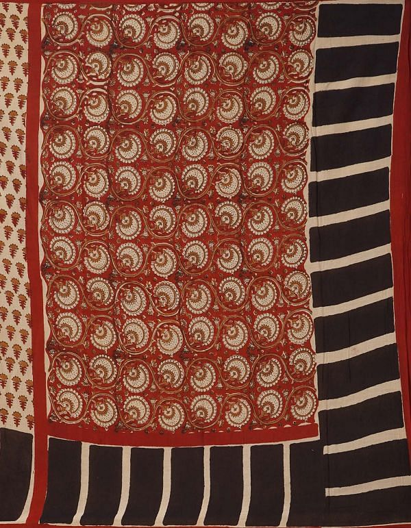 Online Shopping for Cream Pure Bagru Printed Mulmul Cotton Saree with Bagru from Rajasthan at Unnatisilks.comIndia