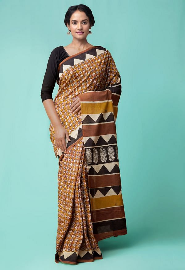 Online Shopping for Brown Pure Bagru Printed Mulmul Cotton Saree with Bagru from Rajasthan at Unnatisilks.comIndia