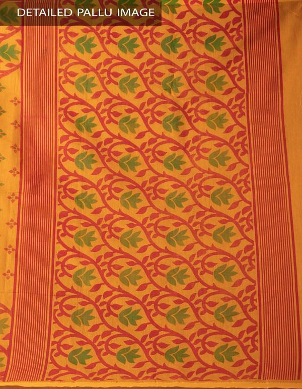 Online Shopping for Orange Pure Handloom Bengal Sico Saree with Tassels with Block Prints from West Bengal at Unnatisilks.comIndia