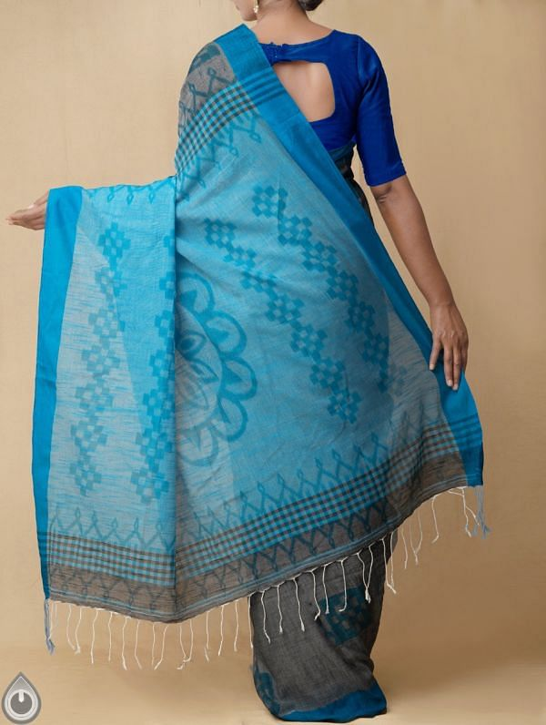 Grey Pure Handloom Bengal Ikat Cotton Saree with Tassels