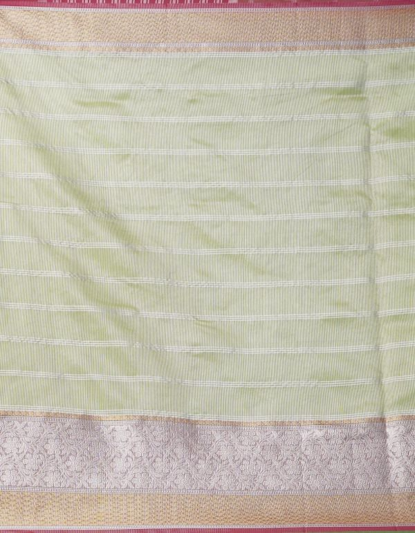 Green Banarasi Viscose Soft Silk Saree.