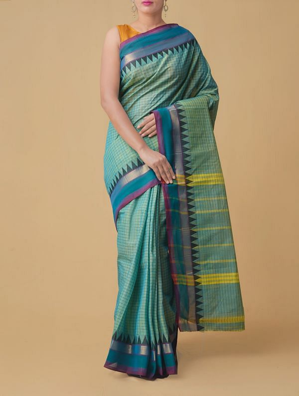 Online Shopping for Green-blue Pure Handloom Chettinad Cotton Saree. with Weaving from Tamilnadu at Unnatisilks.comIndia