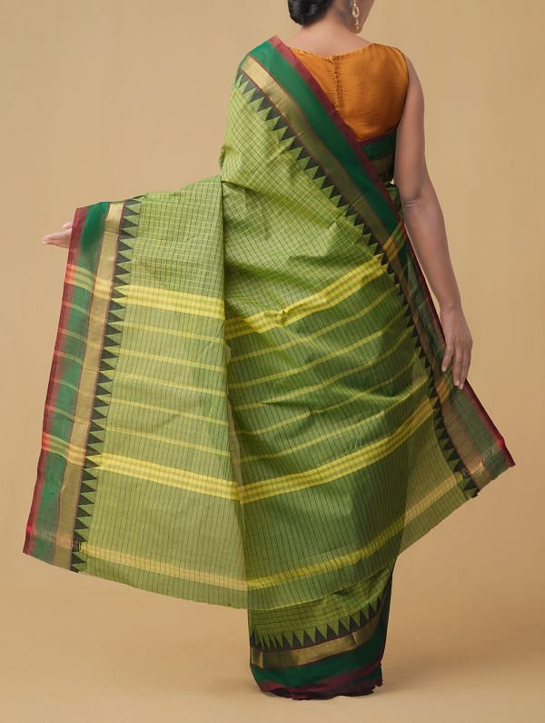 Green Pure Handloom Chettinad Cotton Saree.