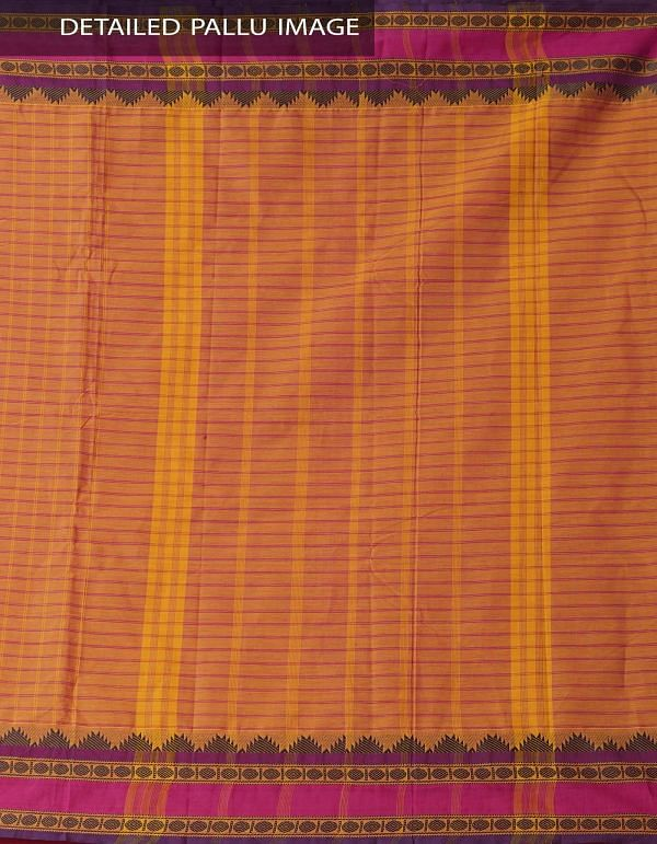 Online Shopping for Orange Pure Handloom Chettinad Cotton Saree. with Weaving from Tamilnadu at Unnatisilks.comIndia