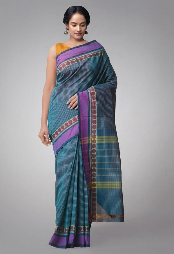 Online Shopping for Blue Pure Handloom Chettinad Cotton Saree. with Weaving from Tamilnadu at Unnatisilks.comIndia