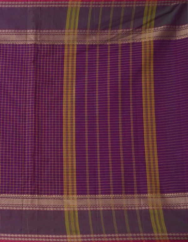 Online Shopping for Purple Pure Handloom Chettinad Cotton Saree. with Weaving from Tamilnadu at Unnatisilks.comIndia