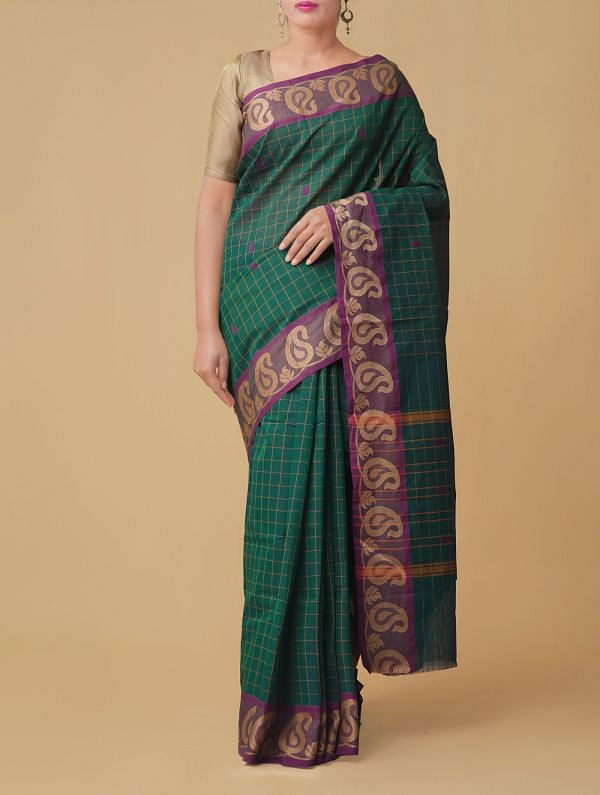 Online Shopping for Green Pure Handloom Chettinad Cotton Saree. with Weaving from Tamilnadu at Unnatisilks.comIndia