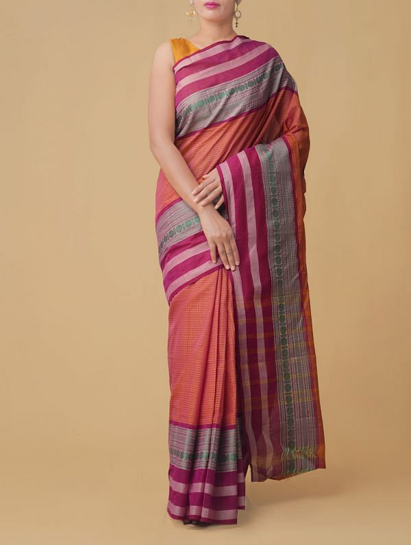 Online Shopping for Orange-Pink Pure Handloom Chettinad Cotton Saree with Weaving from Tamilnadu at Unnatisilks.comIndia