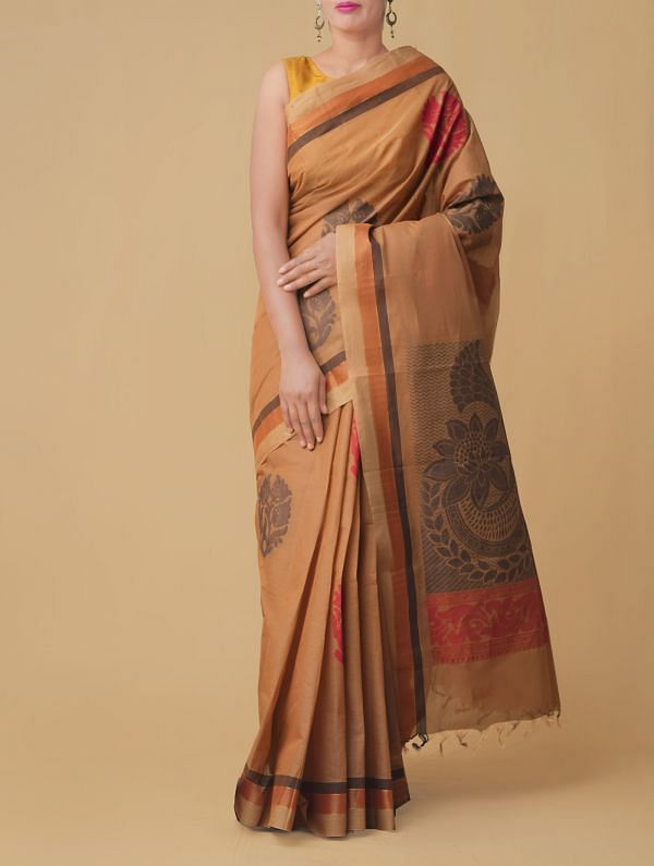 Brown Pure Handloom Kanchi Cotton Saree