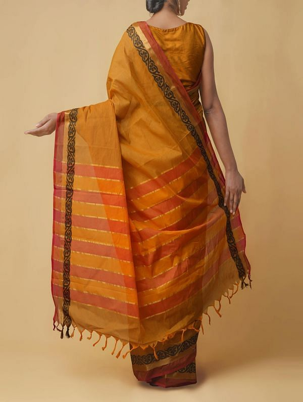 Brown Pure Handloom Uppada Cotton Saree with Tassels