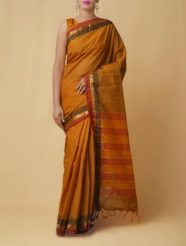 Online Shopping for Brown Pure Handloom Kanchi Cotton Saree with Weaving from Tamilnadu at Unnatisilks.comIndia
