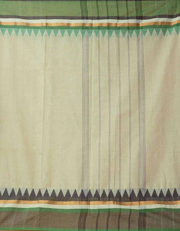 Cream Pure Handloom Kanchi Cotton Saree