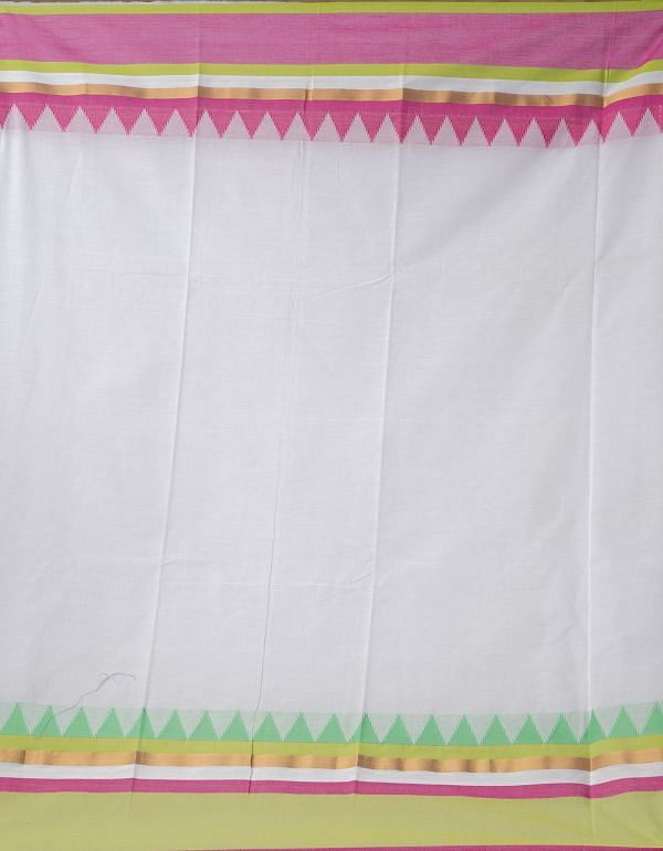 White Pure Handloom Kanchi Cotton Saree