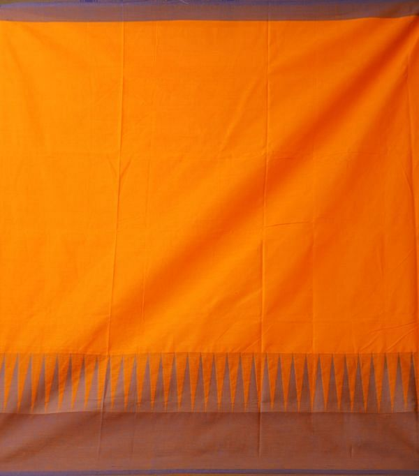 Online Shopping for Yellow Pure Handloom Kanchi Cotton Saree with Weaving from Tamilnadu at Unnatisilks.comIndia