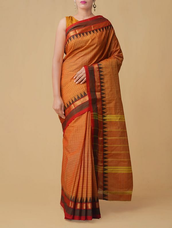 Orange Pure Handloom Chettinad Cotton Saree