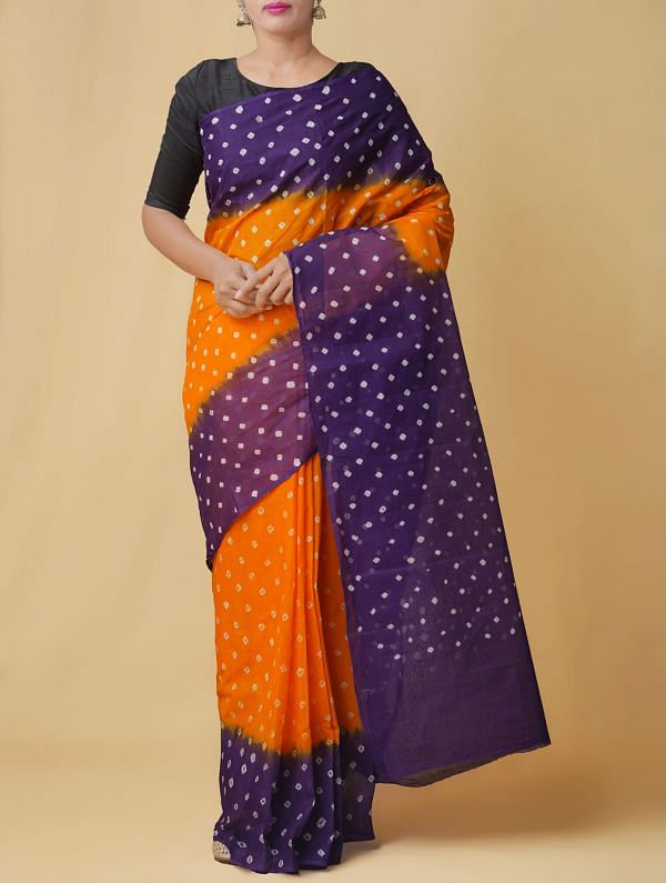 Online Shopping for Yellow-Violet Pure Bandhani Cotton Saree with Tie and Dye Bandhani Prints from Rajasthan at Unnatisilks.comIndia