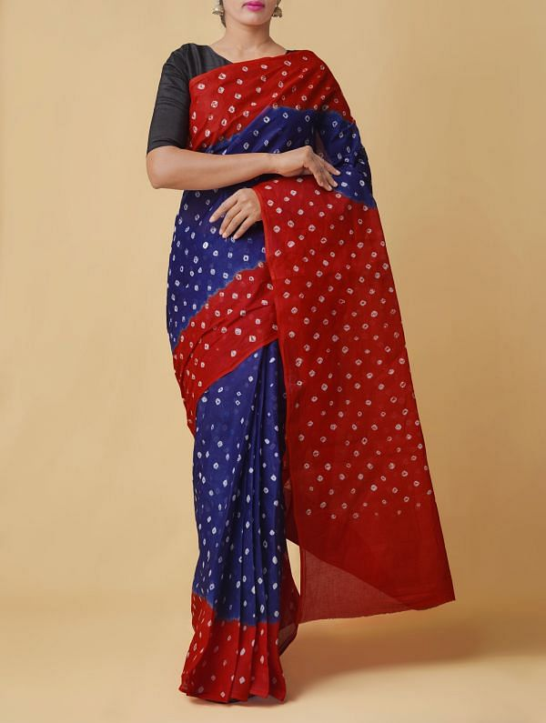 Online Shopping for Violet-Orange Pure Bandhani Cotton Saree with Tie and Dye Bandhani Prints from Rajasthan at Unnatisilks.comIndia