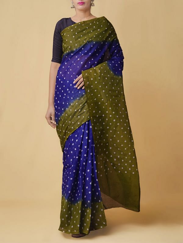 Online Shopping for Blue-Green Pure Bandhani Cotton Saree with Tie and Dye Bandhani Prints from Rajasthan at Unnatisilks.comIndia