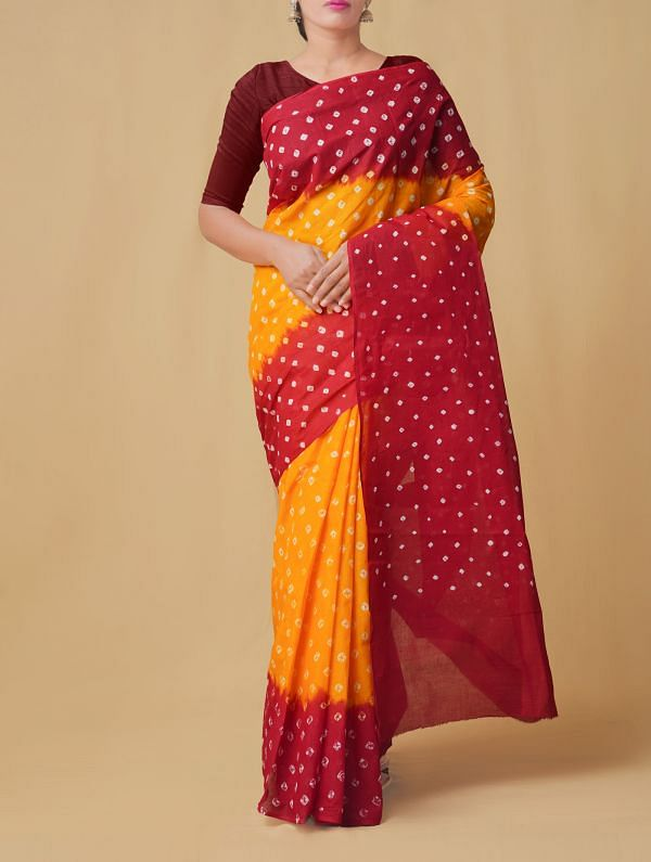 Online Shopping for Yellow-Red Pure Bandhani Cotton Saree with Tie and Dye Bandhani Prints from Rajasthan at Unnatisilks.comIndia