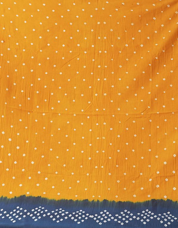 Online Shopping for Blue-Yellow Pure Bandhani Cotton Saree with Tie and Dye Bandhani Prints from Rajasthan at Unnatisilks.comIndia