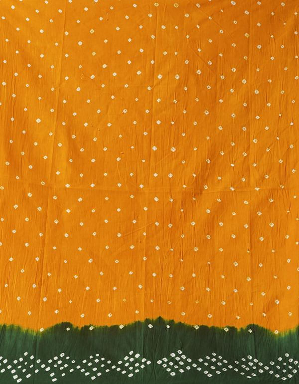 Online Shopping for Yellow-Green Pure Bandhani Cotton Saree with Tie and Dye Bandhani Prints from Rajasthan at Unnatisilks.comIndia