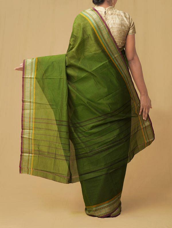 Green Pure Handloom Chettinad Cotton Saree