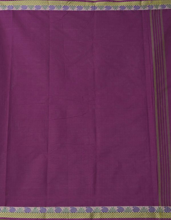 Purple Pure Handloom Chettinad Cotton Saree