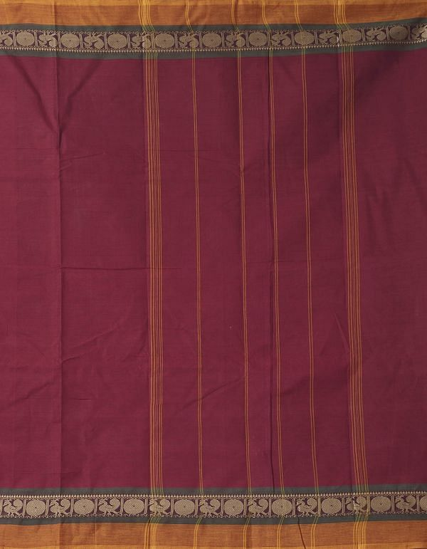 Online Shopping for Maroon Pure Handloom Chettinad Cotton Saree with Weaving from Tamilnadu at Unnatisilks.comIndia