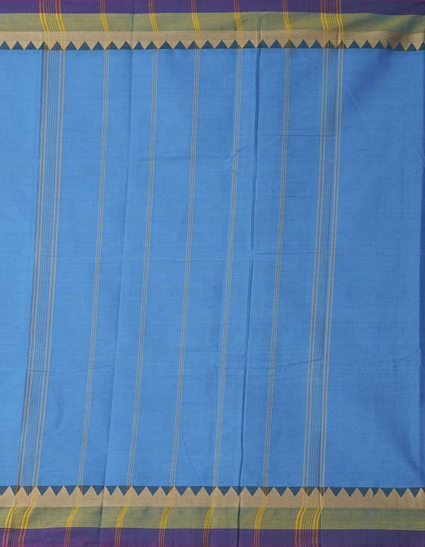 Blue Pure Handloom Chettinad Cotton Saree