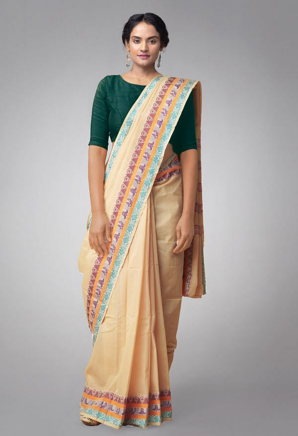 Online Shopping for Cream Pure Handloom Chettinad Cotton Saree with Weaving from Tamilnadu at Unnatisilks.comIndia