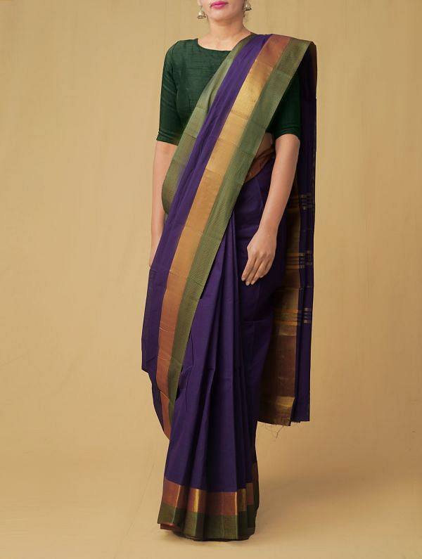 Online Shopping for Purple Pure Handloom Chettinad Cotton Saree with Weaving from Tamilnadu at Unnatisilks.comIndia