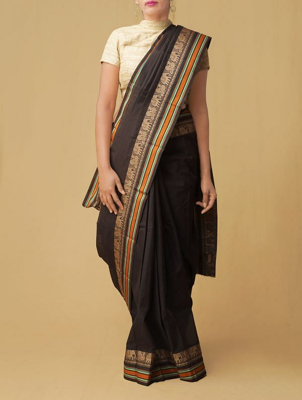 Online Shopping for Black Pure Handloom Kanchi Cotton Saree with Weaving from Tamilnadu at Unnatisilks.comIndia