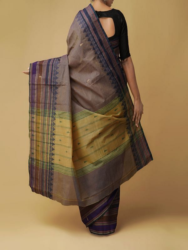 Grey Pure Handloom Kanchi Cotton Saree
