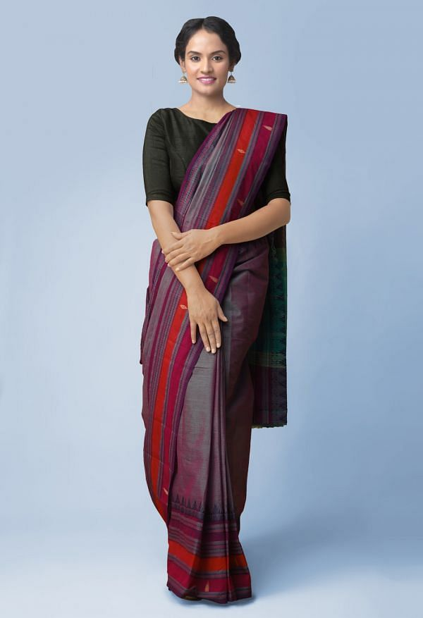 Online Shopping for Green Pure Handloom Kanchi Cotton Saree with Batik Prints from Rajasthan at Unnatisilks.comIndia