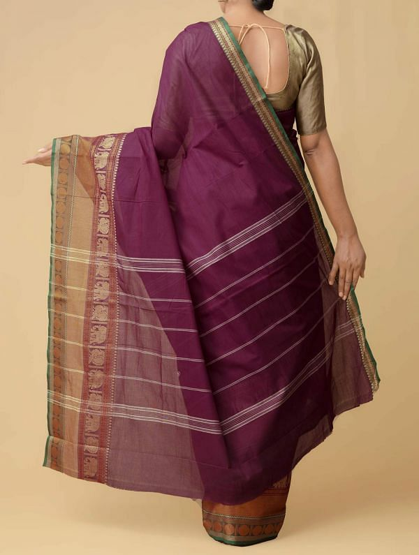 Maroon  Pure Handloom Uppada Cotton Saree