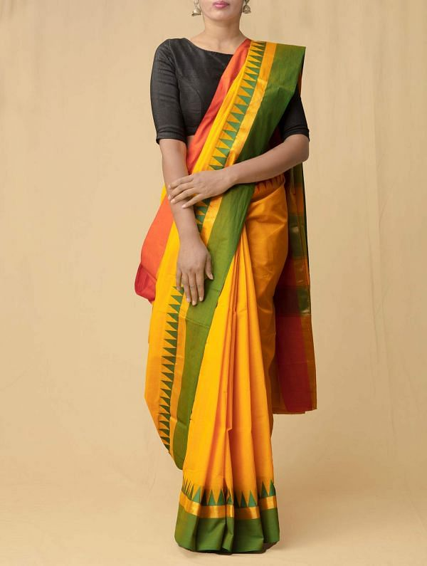 Yellow Pure Handloom Kanchi Cotton Saree
