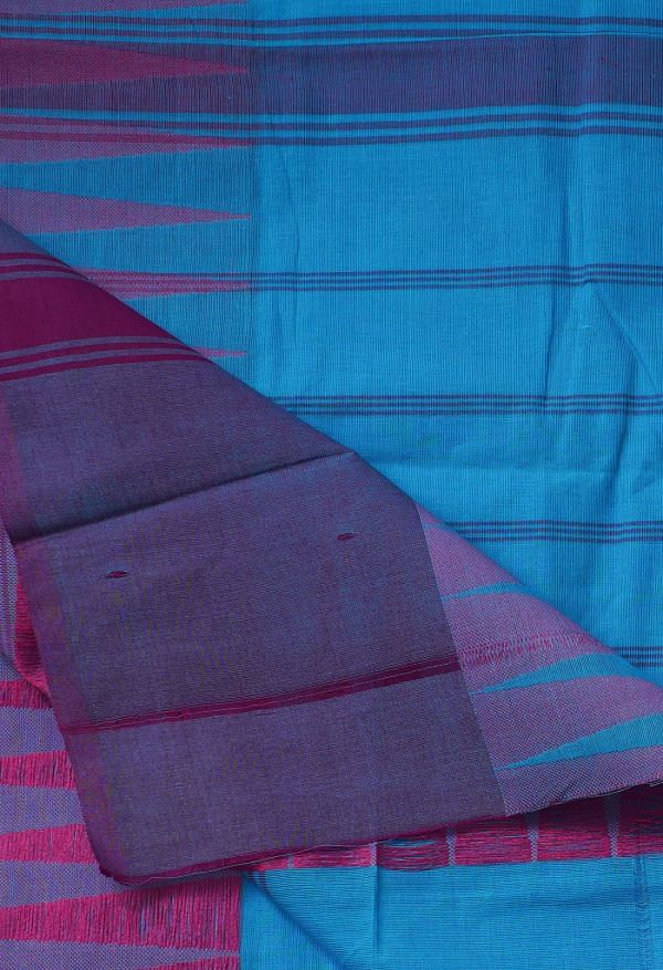 Online Shopping for Blue Pure Handloom Kanchi Cotton Saree with Batik Prints from Rajasthan at Unnatisilks.comIndia