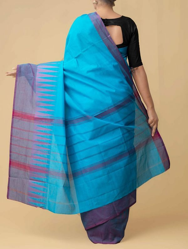Blue Pure Handloom Kanchi Cotton Saree