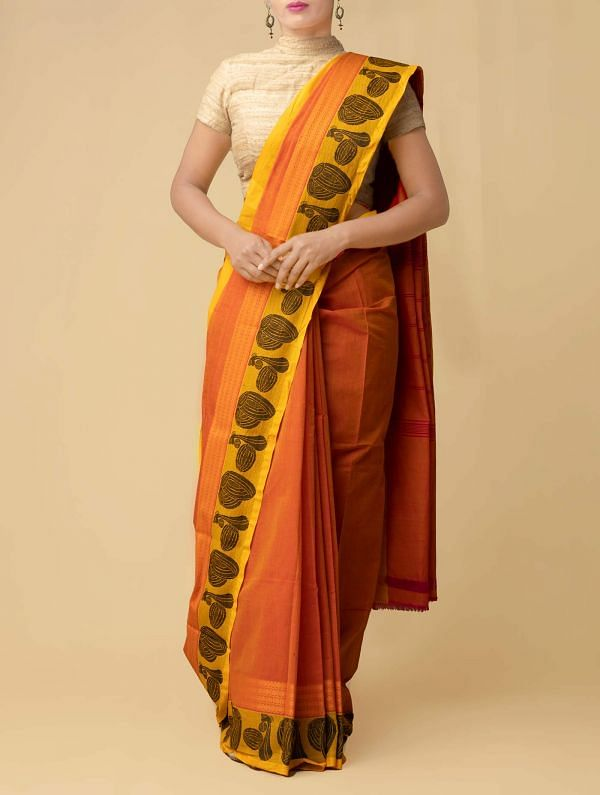 Online Shopping for Yellow Pure Handloom Kanch Cotton Saree with Weaving from Tamilnadu at Unnatisilks.comIndia