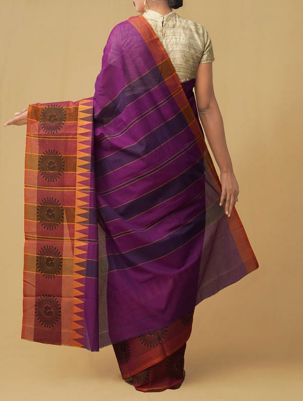Purple Pure Handloom Kanch Cotton Saree